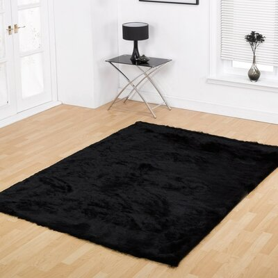 Channel Shag Hand-Tufted Black Area Rug