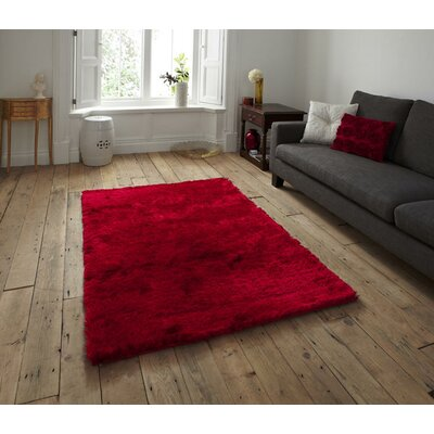 Channell Shag Hand-Tufted Red Area Rug