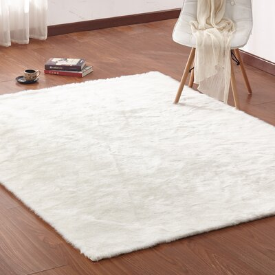 Christerfer Faux Fur White Area Rug