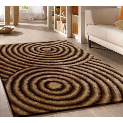 Pavonia Hand-Tufted Gold/Brown Area Rug Rug Size: Rectangle 76 x 103