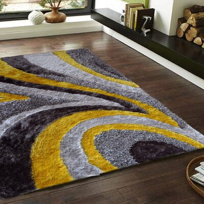 Seiler Shag Hand-Tufted Gray/Yellow Indoor Area Rug