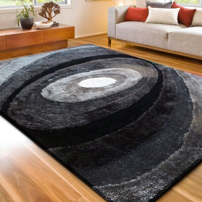 Orme Shaggy Hand-Tufted Gray/Black Area Rug Rug Size: Rectangle 76 x 103