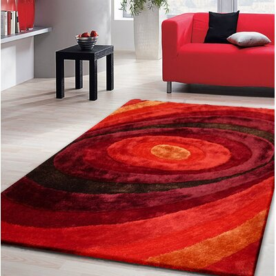 Orme Shaggy Hand-Tufted Red Area Rug Rug Size: Rectangle 76 x 103