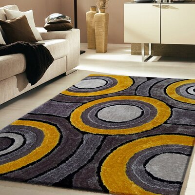 Sibdon Hand-Tufted Gray/Yellow Indoor Area Rug
