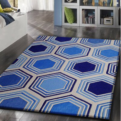 Celaya Transitional Hand-Tufted Blue Area Rug