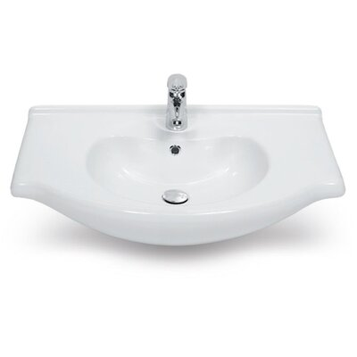 Nil Ceramic 22 Wall Mount Bathroom Sink with Overflow