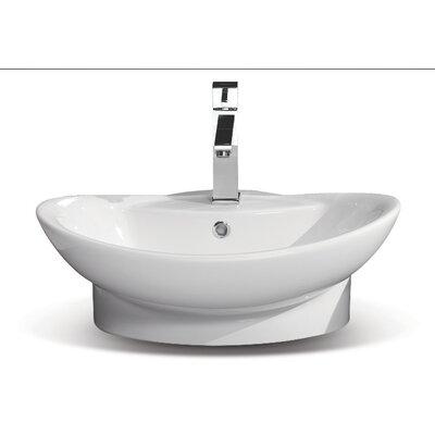 Rio Ceramic U-Shaped Vessel Bathroom Sink with Overflow
