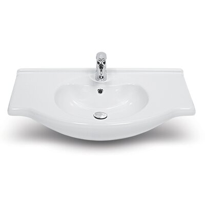 Nil Ceramic 26 Wall Mounted Bathroom Sink with Overflow