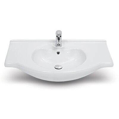 Nil Ceramic 26 Wall Mount Bathroom Sink with Overflow