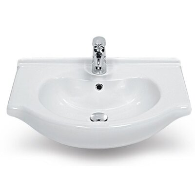 Nil Ceramic 17 Wall Mounted Bathroom Sink with Overflow
