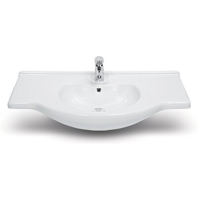 Nil Ceramic 34 Wall Mount Bathroom Sink with Overflow