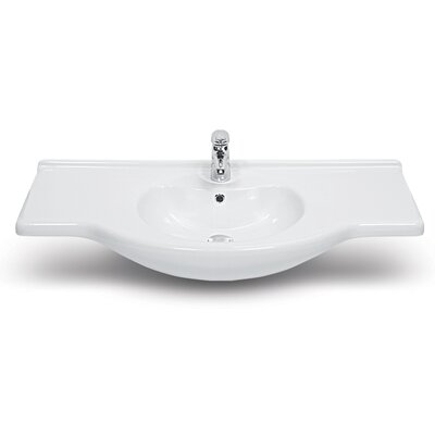 Nil Ceramic Rectangular Drop-In Bathroom Sink with Overflow