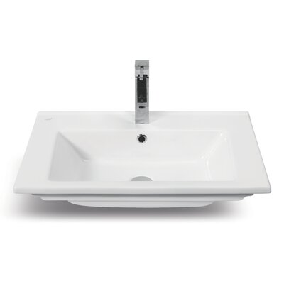 Arte Ceramic Rectangular Drop-In Bathroom Sink with Overflow
