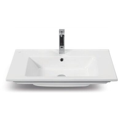 Arte Ceramic Rectangular Drop-In Bathroom Sink with Overflow
