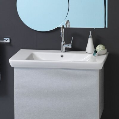 Porto Ceramic 34 Wall Mount Bathroom Sink with Overflow