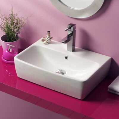 Poco Ceramic Rectangular Vessel Bathroom Sink with Overflow