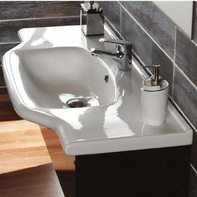 Yeni Klasik Ceramic 32 Wall Mounted Bathroom Sink with Overflow