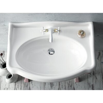 Ceramic 32 Wall Mounted Bathroom Sink Faucet Mount: 3 Hole