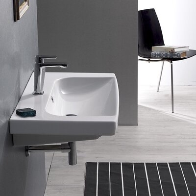 Roma Ceramic 30 Wall Mounted Bathroom Sink with Overflow Faucet Mount: Single Hole