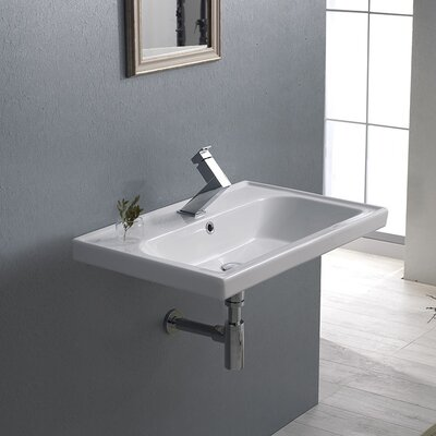 Frame Ceramic 24 Wall Mounted Bathroom Sink with Overflow Faucet Mount: 3 Hole