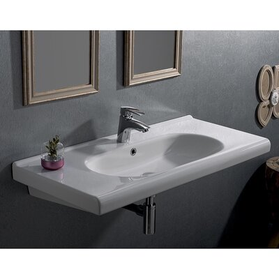 City Ceramic 39 Wall Mounted Bathroom Sink with Overflow Faucet Mount: 3 Hole