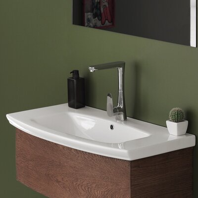 Ceramic Rectangular Drop-In Bathroom Sink with Overflow Faucet Mount: Single Hole