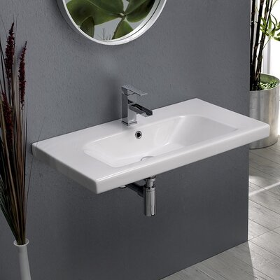 Ceramic Rectangular Drop-In Bathroom Sink with Overflow Faucet Mount: 3 Hole