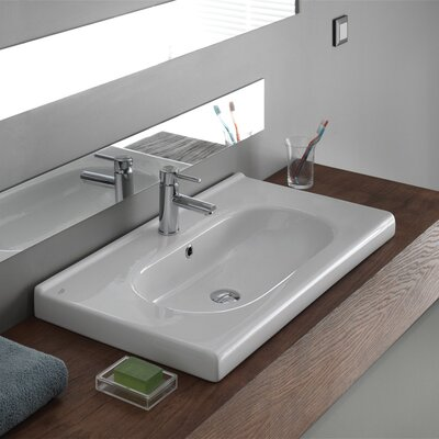 City Ceramic 32 Wall Mounted Bathroom Sink with Overflow Faucet Mount: 3 Hole