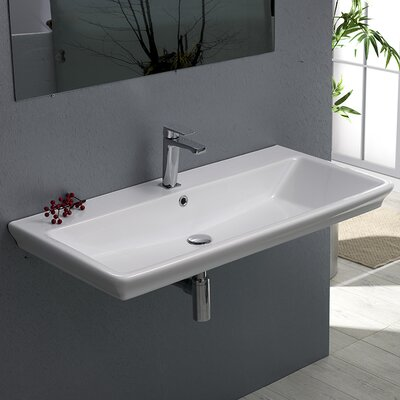 Arica Ceramic 39 Wall Mounted Bathroom Sink with Overflow Faucet Mount: Single Hole