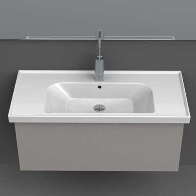 Frame Ceramic 39 Wall Mounted Bathroom Sink with Overflow Faucet Mount: Single Hole