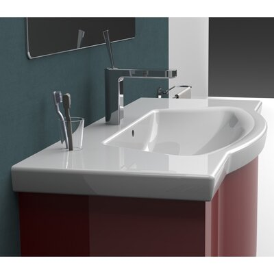Argona Ceramic Rectangular Drop-In Bathroom Sink with Overflow Faucet Mount: 3 Hole