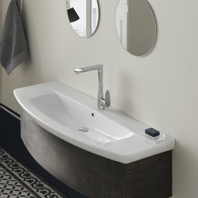 City Ceramic Rectangular Drop-In Bathroom Sink with Overflow Faucet Mount: 3 Hole