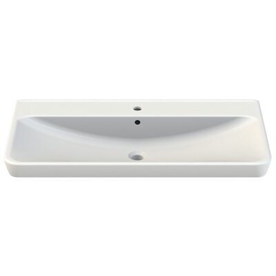 Belo Ceramic Rectangular Drop-In Bathroom Sink with Overflow Faucet Mount: Single Hole