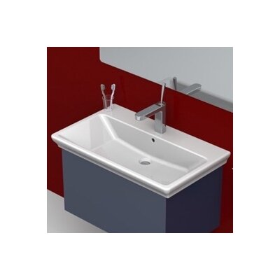 Arica Ceramic Rectangular Drop-In Bathroom Sink with Overflow Faucet Mount: Single Hole