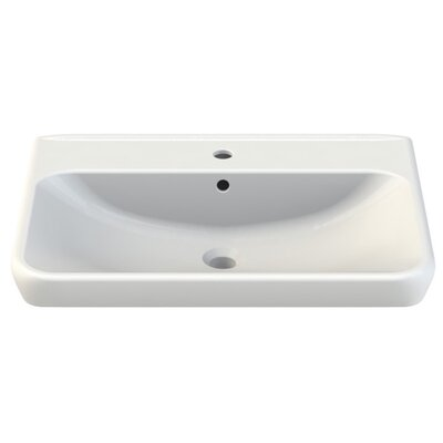 Belo Ceramic Rectangular Drop-In Bathroom Sink with Overflow Faucet Mount: 3 Hole