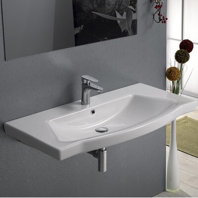 Argona Ceramic 48 Wall Mounted Bathroom Sink with Overflow Faucet Mount: 3 Hole