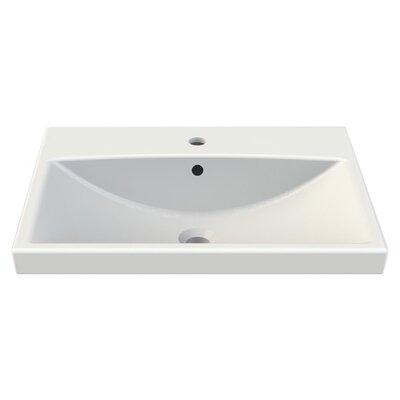 Elite Ceramic Rectangular Drop-In Bathroom Sink with Overflow Faucet Mount: Single Hole