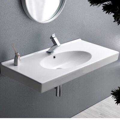 Rita Ceramic Rectangular Drop-In Bathroom Sink with Overflow Faucet Mount: 3 Hole