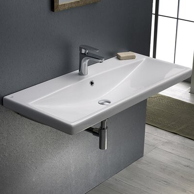 Elite Ceramic 32 Wall Mounted Bathroom Sink with Overflow Faucet Mount: 3 Hole