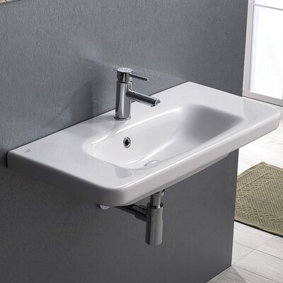 Noura Plus Ceramic 32 Wall Mounted Bathroom Sink with Overflow