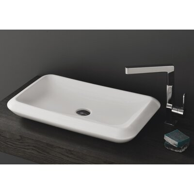 More Ceramic Rectangular Vessel Bathroom Sink with Overflow