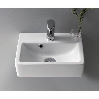 Mini Ceramic 15 Wall Mount Bathroom Sink with Overflow