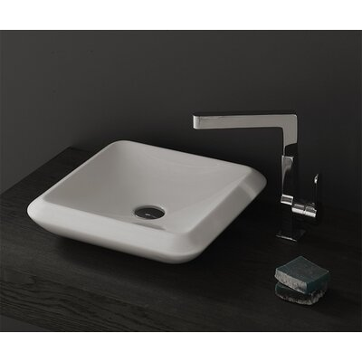 More Ceramic Square Vessel Bathroom Sink with Overflow