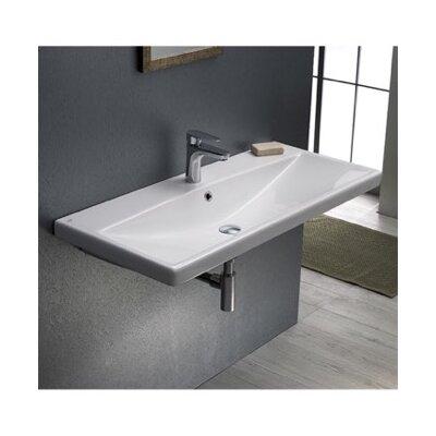 Elite Ceramic Rectangular Drop-In Bathroom Sink with Overflow Faucet Mount: 3 Hole