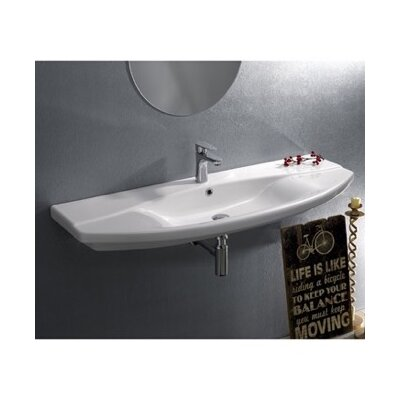 Focus Ceramic 46 Wall Mounted Bathroom Sink with Overflow Faucet Mount: Single Hole