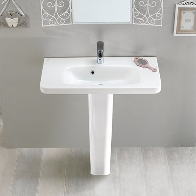 Noura Ceramic 32 Pedestal Bathroom Sink with Overflow Faucet Mount: 8 Centers