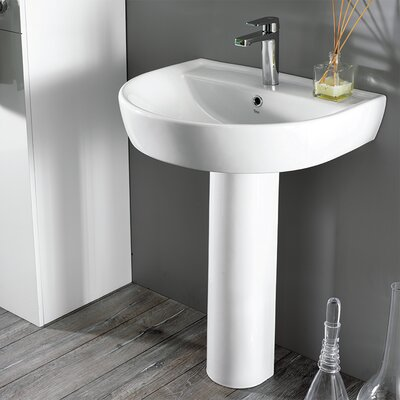 Bella Ceramic 33 Pedestal Bathroom Sink with Overflow Faucet Mount: 8 Centers