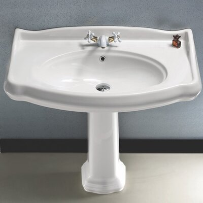 1837 Ceramic 35 Pedestal Bathroom Sink with Overflow Faucet Mount: 8 Centers
