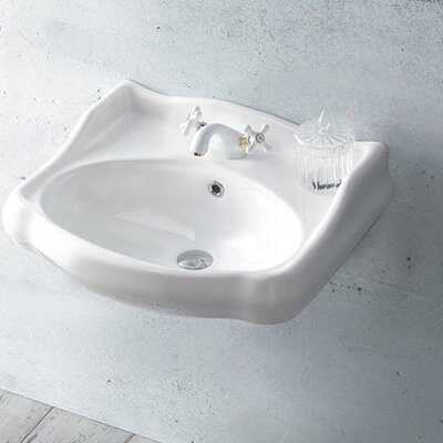 1837 Ceramic 24 Wall Mount Bathroom Sink with Overflow Faucet Mount: 8 Centers