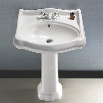 1837 35 Pedestal Bathroom Sink with Overflow Faucet Mount: 8 Centers